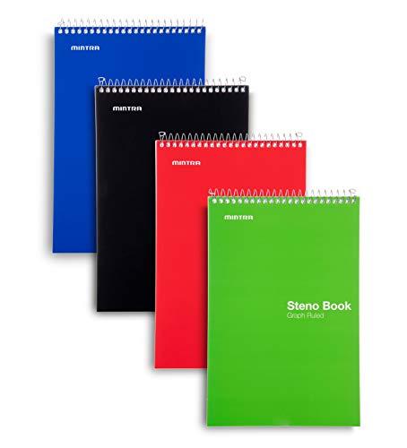 Mintra Office Steno Buch – (Grundfarben, 4 Blöcke/Packung, kariert, liniert) – 15,2 x 22,9 cm, 70 Blatt, Notizbuch zum Schreiben von Notizen in Schule, Universität, Uni, Arbeit, Büro
