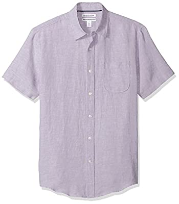 Amazon Essentials Men's Slim-Fit Short-Sleeve Linen Shirt, Lavender, XX-Large