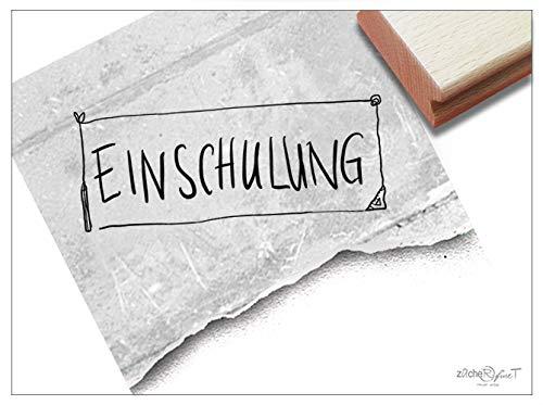 Stempel Textstempel Einschulung als Schild in Handschrift - Schriftstempel für Einladungskarten zum Schulanfang Kita Schule Deko - zAcheR-fineT