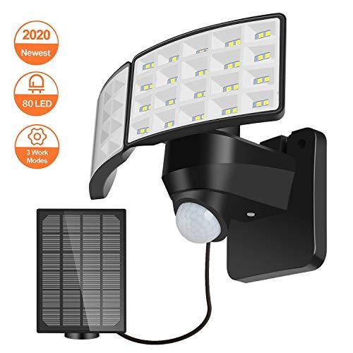 80 LED Solarstrahler mit Bewegungsmelder, Lureshine LED Solarleuchte mit Bewegungssensor und Separatem Solarmodul, 3 Arbeitsmodus Außen Solarlampe, IP 65 Wasserdicht Schwenkbarem Fluter