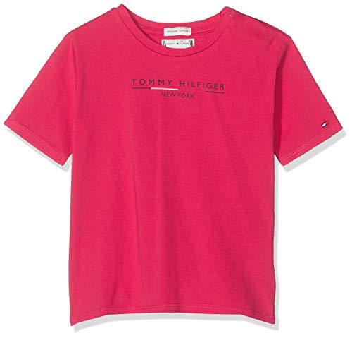 Tommy Hilfiger Mädchen Essential Hilfiger Tee S/S T-Shirt, Rot (Virtual Pink 638), 110 (Herstellergröße:5)
