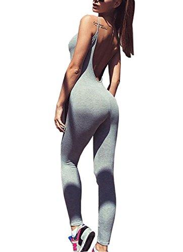 Carolilly Mono Deportivo Mujer Fitness Pantalone de Deporte sin Espalda para Mujer Playsuits Deportiva sin Manga de Yoga Trotar Gimnasio Pilates