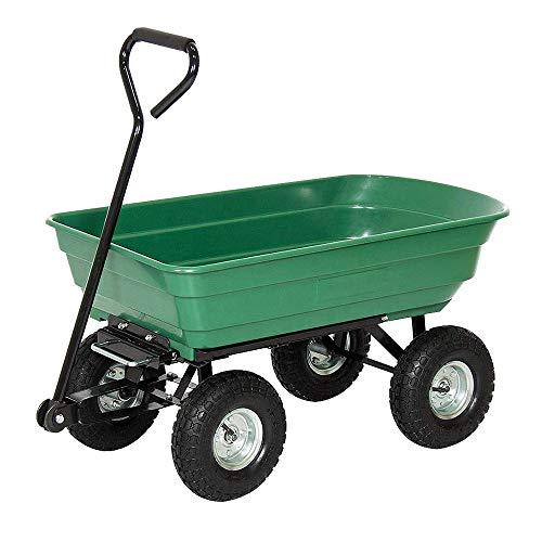 Carretilla de jardín de hasta 300 kg de carga, con función de volquete, capacidad de 75 litros, carro de transporte ergonómico con neumáticos de goma hinchables grandes para aparatos, jardín, tipo B1