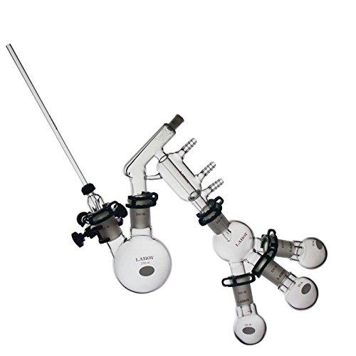 Laboy Glass 250mL Short Path Distillation Apparatus Set 24/40 Chemistry Distilling Lab Glassware Kit (15 Items)