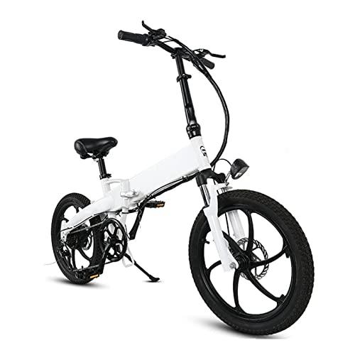 Liu Yu·casa creativa Bicicleta eléctrica Plegable de 20 Pulgadas Neumático de 20 Pulgadas 350W 10AH EBIKE Folding Ciudad eléctrica Bicicleta 30km / h (Color : White, tamaño : 165-180CM)