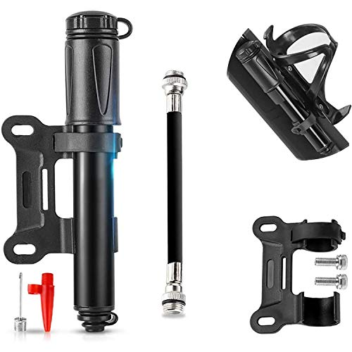 Mini Pompe à Vélo, Pompe à Vélo avec Manomètre 160 PSI, pour Toutes les Valves (Presta/Schrader), Pompe à Main Légère pour Vélo, Portable, Compacte, Rapide et Facile à Utiliser