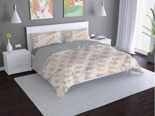 Toopeek Cream 100% washed microfiber bed set Damask-Motif-Antique-Oriental Super soft and breathable duvet cover (King)