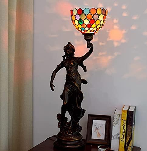 Gracelove Lámpara de mesa de estilo vintage banquero Tiffany, lámpara de mesa...