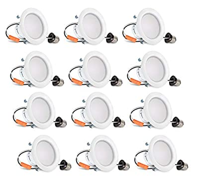 Hyperikon 4 Inch LED Recessed Lighting, 9W=65W, LED Retrofit Downlight, UL, Daylight White, 12 Pack