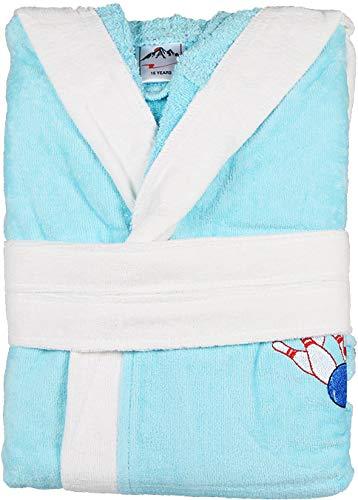 Meltem Bowly Albornoz juvenil, 100% algodn, 16 aos, apto para secadora, lavable a 60, color turquesa