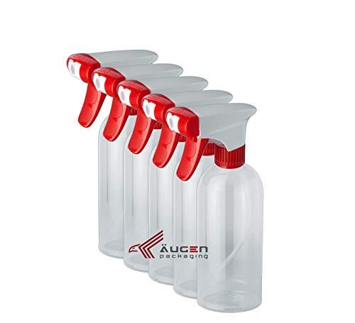 ÄUGEN GmbH | 5Stk a 500ml Sprühflaschen | weiß-roter Sprühkopf | Power Trigger | leer | Spray Bottle