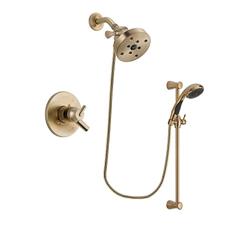 Delta Trinsic Champagne Bronze Finish Dual Control Shower Faucet System Package with 5-1/2 inch Showerhead and Personal Handheld Shower Sprayer with Slide Bar Includes Rough-in Valve DSP3518V