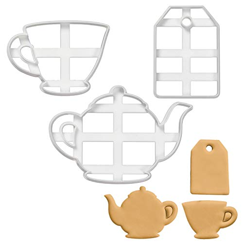Bakerlogy 3er Set Teeparty Ausstechformen (Formen: Teekanne, Teetasse und Teebeutel), 3 Teile, Ideal für die selbstgestaltete Teeparty