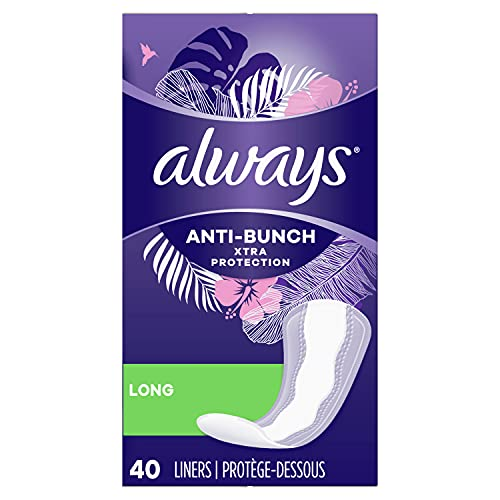 Always Anti-Bunch Xtra Protection Daily Liners Long Unscented, Anti Bunch Helps You Feel Comfortable, 40 Count