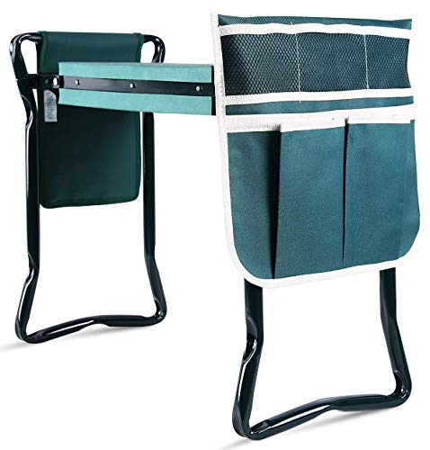Ohuhu Garden Kneeler and Seat with 2 Tool Pouches, 2-in-1 Foldable Garden Bench Garden Stools, Heavy Duty Portable Garden Kneeling Pad, Great Gift for Parent, Gardener, Old People