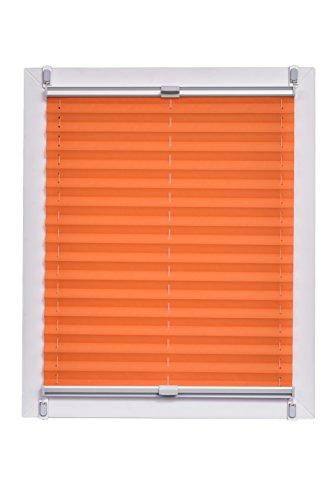 Sunlines Plissee Made in Germany, Tageslicht, Crepes Uni Klemmfix, Silbergraue Schiene, 115 x 150, Stoff, Orange, 120 x 150cm