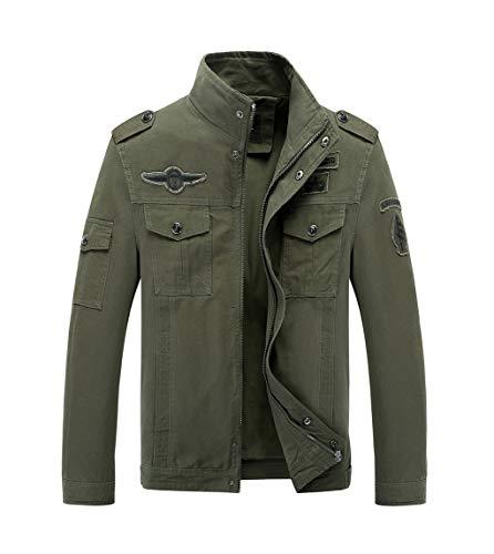 LaoZanA Chaqueta Militar Hombre Otoño Casual Abrigo Bomber Cazadora Slim Fit Verde...