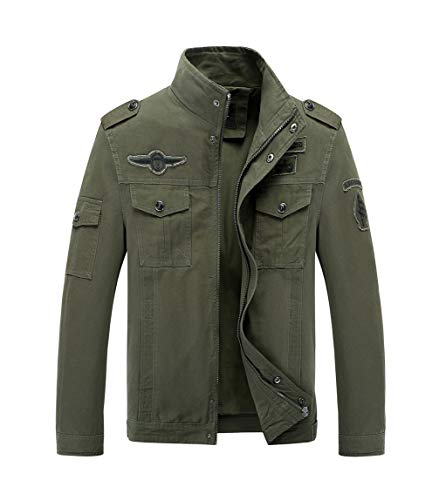 LaoZanA Chaqueta Militar Hombre Otoño Casual Abrigo Bomber Cazadora Slim Fit Verde del ejército 2XL