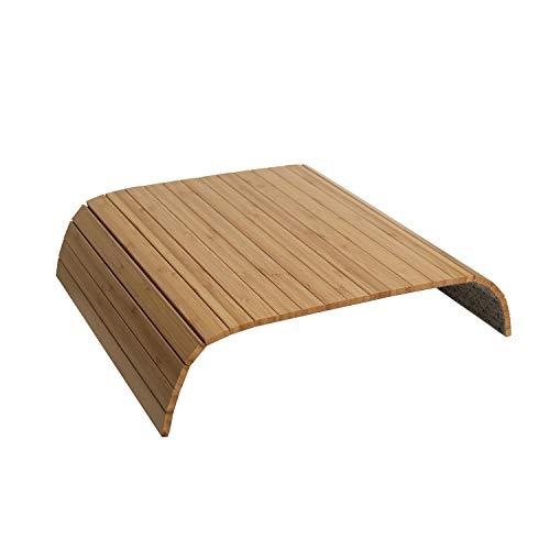 GEHE Bandeja para reposabrazos de sofá, flexible, plegable, ideal para aperitivos, gran bandeja para reposabrazos de sofá (41,9 cm de largo x 33,7 cm de ancho x 1 cm de alto, bambú natural)