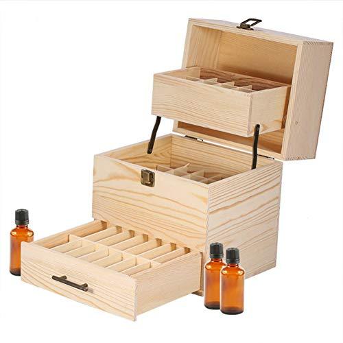 Beunyow Mehrschichtig Tragbar Holz Aromatherapie Geschenk-Box Ätherische Öle Flaschen Box Aufbewahrung Koffer Box - Geeignet für Nagellack, Duftöle, Ätherisches Öl, Stain und Lippenstift