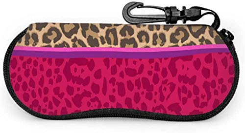 Funny Zebra Leopard Print Art Case Safety Glasses Safety Eyeglass Cases Light Portable Neoprene Zipper Soft Case Universal Sunglasses Case