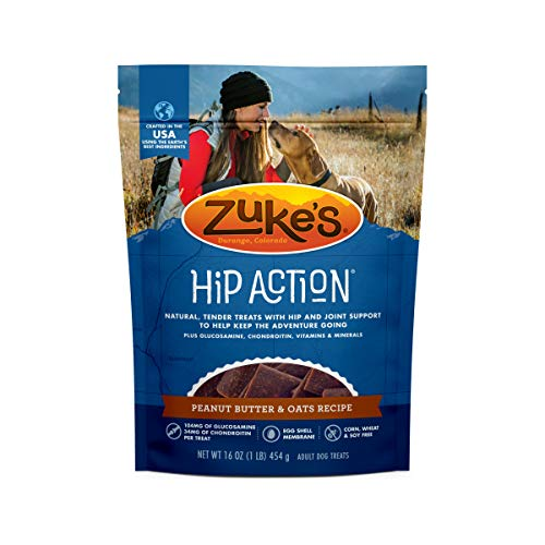 Zuke's Natural Hip & Joint Dog Treats; Hip Action Recipe; Made in USA Facilities, Peanut Butter, 16 oz