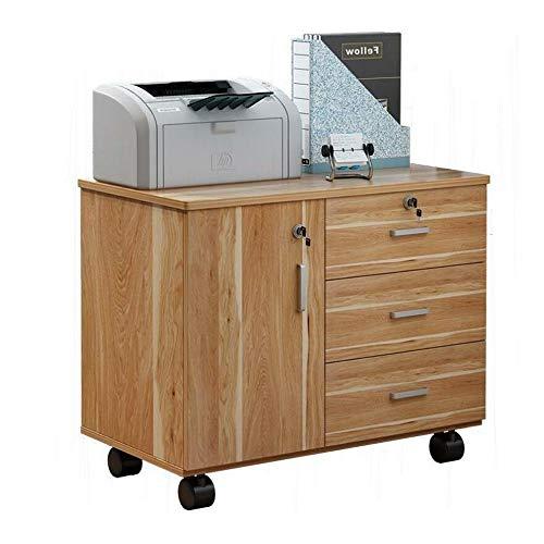 3 cajones de archivos móvil Gabinete, Oficina lateral Archivador con ruedas, soporte de impresora con estantes de almacenamiento abierto, Aparador de trabajo estación de Estudio en el Hogar LJJOO