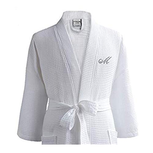 Luxor Linens - Waffle Robe Bathrobe Set - 100% Egyptian Cotton - Unisex/One Size Fits Most - Spa Robe, Luxurious, Soft, Plush (1 pc, White)