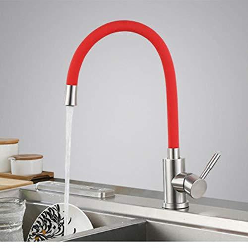 G FQXML Rubinetteria da Cucina Flessibile in Acciaio Inox Rubinetteria da Cucina in Acciaio Inox Rubinetti termostatici Rubinetteria per rubinetteria per Cucina, Rosso