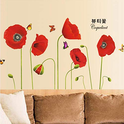 Wandaufkleber Roter Mohn Blumen Schmetterlinge S Art Deco Tapete Wandbild Wohnkultur