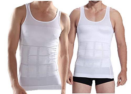 iBuylinks Herren-Unterhemd, figurformend, weiß/schwarz/blau, mit RFID-Karten-Hülle, 2 Stück - - X-Groß