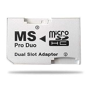 OcioDual Adaptador Doble Micro SD SDHC Memory Stick Pro Duo MS PSP 1000 2000 3000 Dual