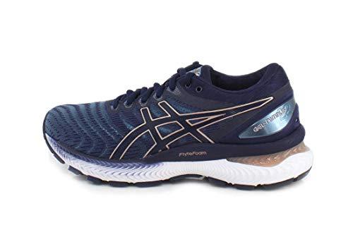 ASICS Women's Gel-Nimbus 22 Running Shoes, 9.5M, Grey Floss/Peacoat