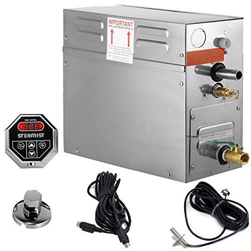 FlowerW 6KW Sauna Dampferzeuger Dampfgenerator Tragbarer Dampferzeuger mit Temperatur Digitalregler Timer