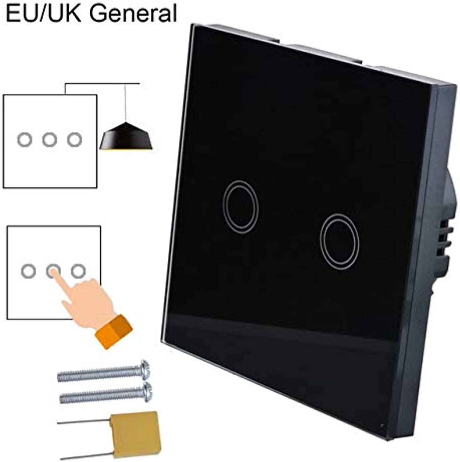 Hoomall 2pcs EU UK Standard 1 2 3 Gang 1 Way Crystal Glass Panel Smart Switch Contorl Home Light Touch Screen Switch Panel  (color  G194618, Size  2PCS)