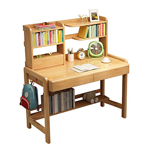 Children's Wooden Study Computer Table,Adjustable Height Child Writing Desk,with Drawers and Bookshelves, Multi Function Student Wooden Table for Girls Boys