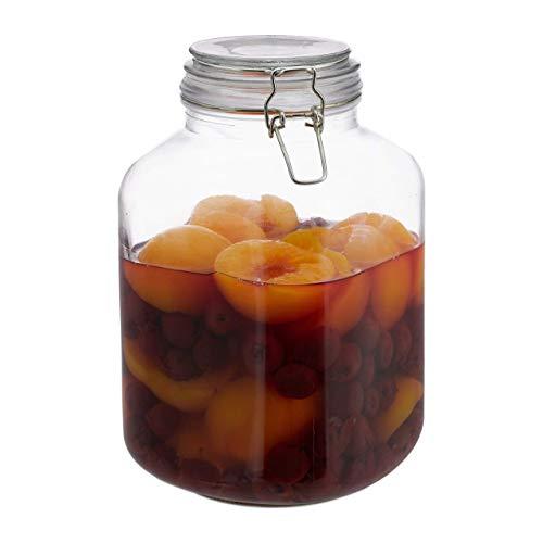 Relaxdays, klar 3 Liter Einmachglas, zum Konservieren, Gastro, Bügelverschluss, Gummiring, luftdicht, XXL Einweckglas, Glas, Eisen, Standard