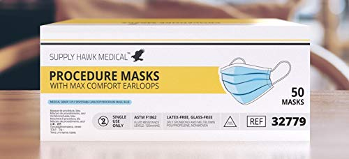 Medical Grade 3-Ply Disposable Face Mask with ASTM Level 2 Fluid Resistance (50 Pack)