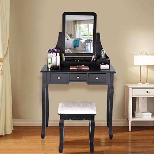 Voberry Vanity Set with Mirror,5 Large Sliding Drawers, Removable Makeup Organizer,Cushioned Stool Dressing Table Vanity Makeup Table, Easy Assembly (Black) chair gaming gray