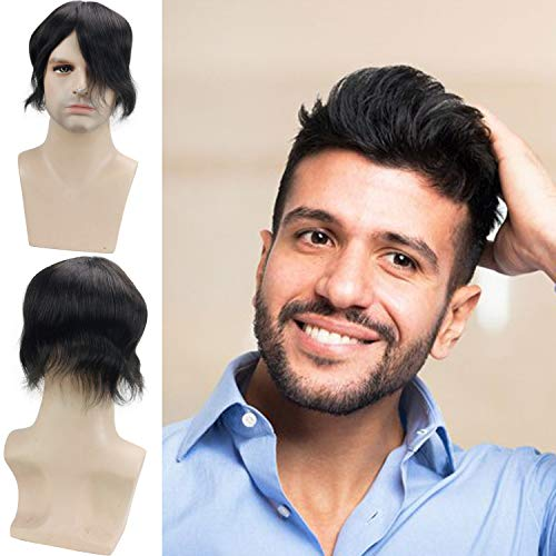 Rossy&Nancy Human Hair Toupee for Men Hair Replacement System Breathable Swiss Lace Top 8x6inch with PU Perimeter 1B Off Black Color