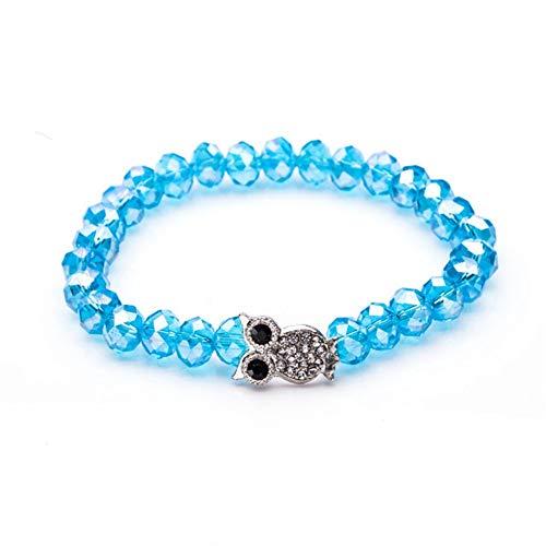 DLIAAN Armbanden Leuke Uil Hanger Bedels Armbanden Acryl Multi kleuren Optionele Crystal Bead Strand Armband Voor Vrouwen Dames Meisjes Paar Afstand Armband Sieraden