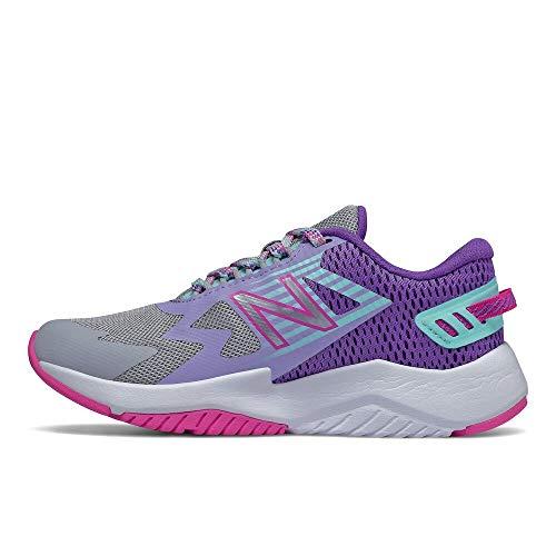 New Balance Rave V1 Lace Up Running Shoe, Light Aluminum/Mirage Violet/Fusion, 3 US Unisex Little Kid