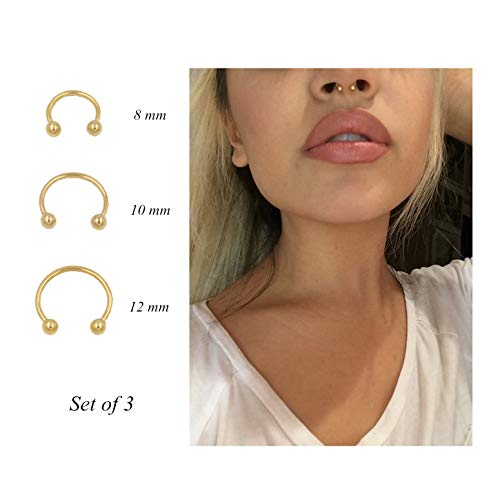 Pamido Horseshoe Hoop Nose Rings Cartilage Earring Nose, Gold, Size No Size