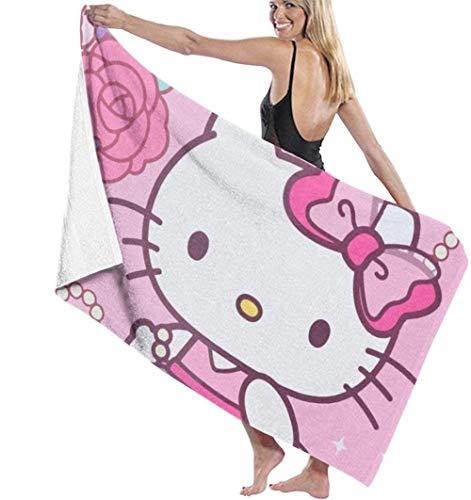 BAOYUAN0 Hello Kitty is Very Lady Toallas de Playa Toalla de baño Mujeres niños niñas niños Adultos Hombres Hombres 80*130cm