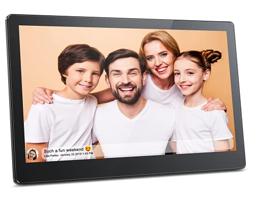 FRAMEO 15.6 Inch FHD Digital Picture Frame, MARVUE Vision 15 Smart WiFi Electronic Digital Photo Frame Large Touch Screen&16GB Storage,Easy Setup to Share Video and Photos from Anywhere