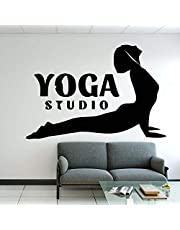 Joga korytarz naklejka ścienna joga trening mata koszula spodnie sport yin yang harmonia równowaga relaks naklejka ścienna joga dekoracja 59 x 39 cm