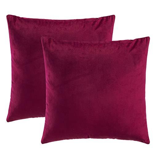 eletecpro Kissenbezug 50x50cm, 2er Set Samt Kissenhülle mit Verstecktem Reißverschluss, Rot Dekorative Kissenbezüge für Sofa und Terrasse Wohnzimmer,Schlafzimmer, Büro in großer Farb- Größenauswahl