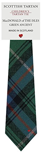 I Luv Ltd Garçon Tout Cravate en Laine Tissé et Fabriqué en Ecosse à MacDonald Of The Isles Green Ancient Tartan
