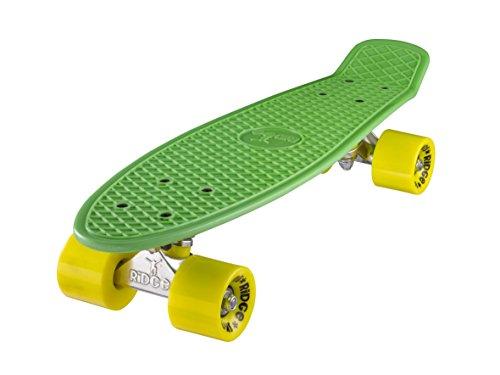 Ridge Skateboards 22 Mini Cruiser Skateboard, Verde/Giallo