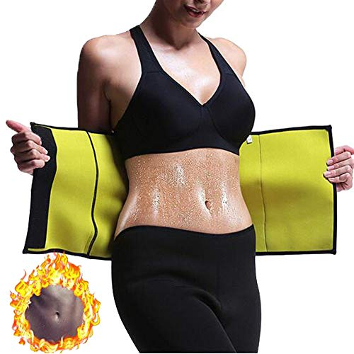 Hot Body Shaper, Neoprene Slimming Belt, Tummy Control Shapewear, Stomach Fat Burner, Best Abdominal Trainer, Workout Sauna Suit, Weight Loss Cincher for Women & Men (Black, L)